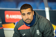 Goalkeeper Sergio Asenjo (#1) of Villarreal CF on the bench before the Europa League group stage match between Rangers FC and Villareal CF at Ibrox, Glasgow, Scotland on 29 November 2018.