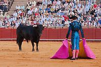 bull fighting scene in sevilla, spain