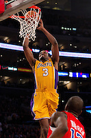 25 February 2011: Forward Devin Ebanks of the Los Angeles Lakers dunks the ball against the Los Angeles Clippers during the second half of the Lakers 108-95 victory over the Clippers at the STAPLES Center in Los Angeles, CA.