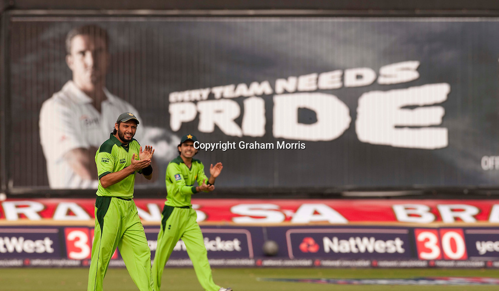 Captain Shahid Afridi (& Fawad Alam, right) during the first T20 international between England and Pakistan in Cardiff.  Photo: Graham Morris (Tel: +44(0)20 8969 4192 Email: sales@cricketpix.com) 05/09/10