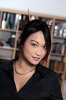 studio shot portrait cute funny young expressive women asian working woman