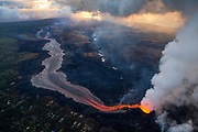Kilauea's east rift zone: Fissure 8 continues to discharge lava at an inordinate rate, feeding this channelized flow that leads to the sea.