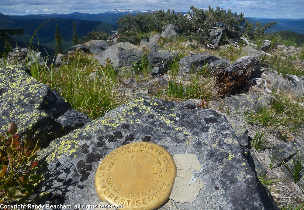 Top of Red Top Mountain with a Forest Service Survey Marker. Kootenai National Forest in the Purcell Mountains, northwest Montana.