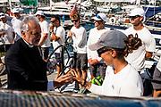 Father Alex Karloustsos blessing the Maxi 72 fleet at the Corfu Challenge.
