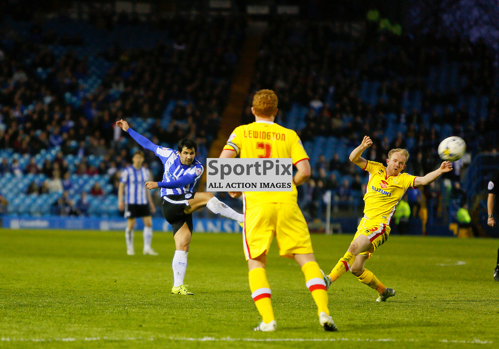 Alex Lopez shoots during Sheffield Wednesday v Milton Keynes Dons, SkyBet Championship, Tuesday 19th April 2016, Hilsborough, Sheffield