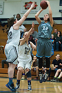 South Burlington's Elizabeth Khosravi (24) takes a shot during the girls basketball game between the South Burlington Rebels and the Burlington Sea Horses at Burlington High School on Tuesday night Febraury 2, 2016 in Burlington. (BRIAN JENKINS/for the FREE PRESS)