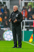 Steve Bruce, manager of Newcastle United FC signals to his team during the Premier League match between Newcastle United and Arsenal at St. James's Park, Newcastle, England on 11 August 2019.