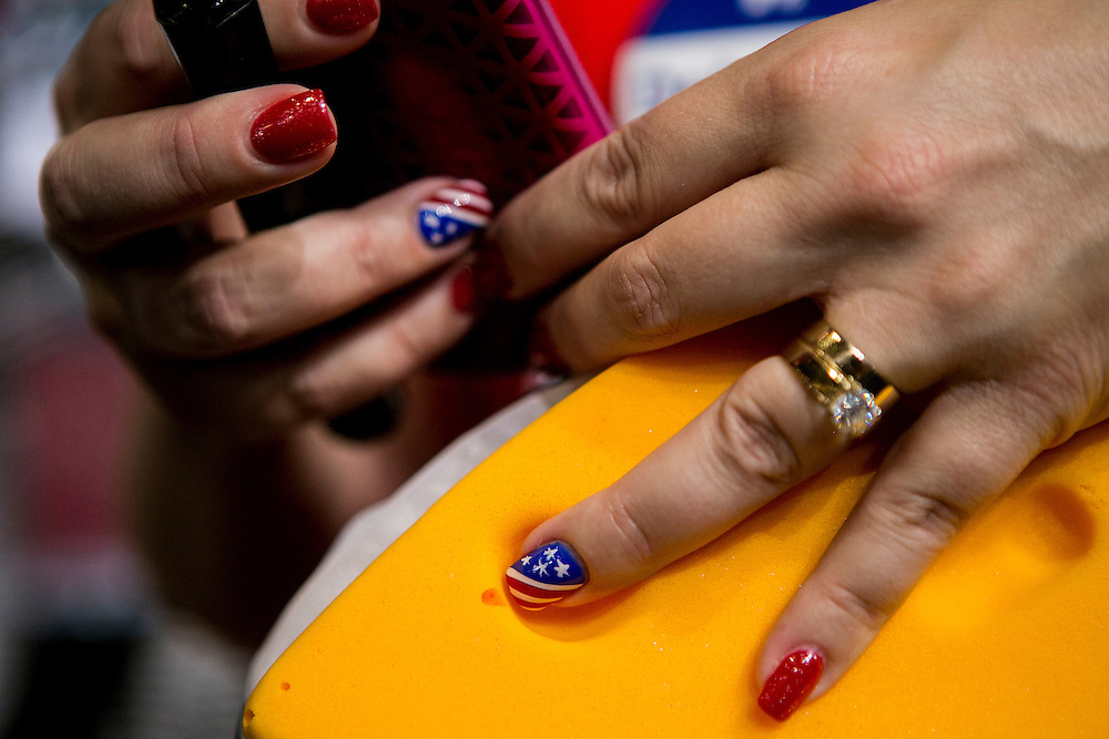 PHILADELPHIA, PA - JULY  28, 2016: Ann Jacobs, a delegate from Wisconsin, dons patriotic nail paint in support of Hillary Clinton before the final night of the Democratic National Convention in Philadelphia, Pennsylvania. CREDIT: Sam Hodgson for The New York Times. <br /> <br /> NYTDNC