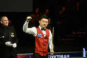 19.02.2016. Cardiff Arena, Cardiff, Wales. Bet Victor Welsh Open Snooker. Neil Robertson versus Ding Junhui. Ding celebrates a 147 maximum score.