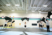 The Shadow Armada winterguard and indoor percussion perform at all of the schools in the Oregon School District for Fine Arts Week in Oregon, Wisconsin on April 10, 2013.