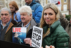 © Licensed to London News Pictures. 26/01/2019. London, UK. Former Conservative Party Director of Communications CARRIE SYMONDS (L) and STANLEY JOHNSON (2-L) join an anti-whaling demonstration in London. Photo credit: Rob Pinney/LNP