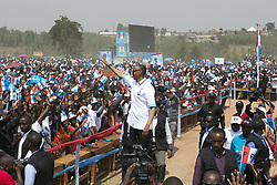 NYANZA (RWANDA), July 14, 2017  Rwandan presidential candidate Paul Kagame (C), the incumbent President of Rwanda, greets his supporters at a presidential campaign rally in Nyanza, Rwanda, on July 14, 2017. Rwanda's presidential campaigns officially kicked off on Friday. The ruling party Rwanda Patriotic Front (RPF)'s presidential candidate Paul Kagame, who is seeking a third term, has launched his campaigns in his childhood home town of Ruhango District, Southern Rwanda. (Credit Image: © Xinhua via ZUMA Wire)