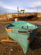Israel, Tel Aviv-Jaffa, Old dilapidated boat at dry dock at the Jaffa port