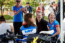 WNT Rotor Pro Cycling share a laugh ahead of Tour of Chongming Island 2019 - Stage 2, a 126.6 km road race from Changxing Island to Chongming Island, China on May 10, 2019. Photo by Sean Robinson/velofocus.com
