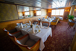 The Queen's Grill restaurant inside Queen Elizabeth 2 former ocean liner now reopened as hotel in Dubai , United Arab Emirates