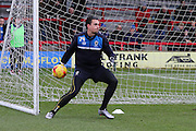 Kelle Roos (Goalkeeper) of AFC Wimbledon makes his debut since joining on-loan from Derby County during the Sky Bet League 2 match between AFC Wimbledon and Luton Town at the Cherry Red Records Stadium, Kingston, England on 13 February 2016. Photo by Stuart Butcher.