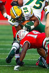 NORMAL, IL - October 05: Luther Kirk undercuts Bison ball carrier Adam Cofield during a college football game between the ISU (Illinois State University) Redbirds and the North Dakota State Bison on October 05 2019 at Hancock Stadium in Normal, IL. (Photo by Alan Look)