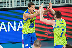 Ropret Gregor and Toncek Stern of Slovenia celebrating during friendly volleyball match between Slovenia and Serbia in Arena Stozice on 2nd of September, 2019, Ljubljana, Slovenia. Photo by Grega Valancic / Sportida
