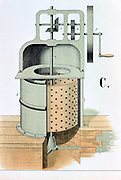 Centrifuge, 1882. Used to separate liquids from solids, or liquids from liquids of different density such as cream from milk.   From 'Physics in Pictures' by Theodore Eckardt, London, 1882. Chromolithograph.