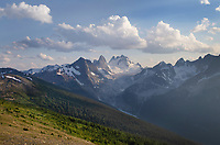 Howser Towers, Vowell Glacier. Seen from Rocky Point Ridge.  Bugaboo Provincial Park Purcell Mountains British Columbia.