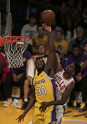 November 21, 2017 - Los Angeles, California, United States of America - Julius Randle #30 of the Los Angeles Lakers rejects a ball during their game with the Chicago Bulls on Tuesday November 21, 2017 at the Staples Center in Los Angeles, California. Lakers defeat Bulls, 103-94. JAVIER ROJAS/PI (Credit Image: © Prensa Internacional via ZUMA Wire)