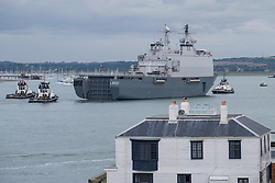 © Licensed to London News Pictures. 22/09/2016. Portsmouth, UK.  The Dutch Warship, HNLMS Rotterdam, visiting Portsmouth Harbour today, 22nd September 2016. The Rotterdam is a Landing Platform Dock amphibious warfare ship of the Royal Netherlands Navy. The vessel is visiting for the day, and will depart this evening at approximately 1700 hours. Photo credit: Rob Arnold/LNP