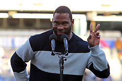 Feb 7, 2012; East Rutherford, NJ, USA; New York Giants defensive end Justin Tuck speaks to the crowd during the New York Giants Super Bowl XLVI Rally at MetLife Stadium.