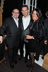 Left to right, JONATHAN SHALIT, NICK CANDY and KATRINA SHALIT at the 39th birthday party for Nick Candy in association with Ciroc Vodka held at 5 Cavindish Square, London on 21st Januatu 2012.