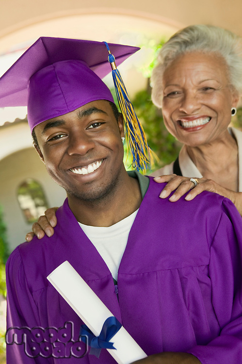 Graduate and grandmother outside portrait