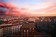 Spain, Madrid, A colorful sunrise over the city