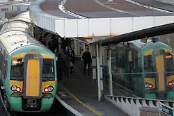 © Licensed to London News Pictures. 20/12/2011, London, UK.  A train stands at a platform at East Croydon station, south London, Tuesday, Dec. 20, 2011. Train fares will rise by an average of 5.9 percent in January 2012, the Association of Train Operating Companies has said Tuesday. Photo credit : Sang Tan/LNP