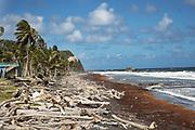 Beach devastated by the hurracain Maria