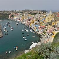 Marina della Coricella with it's pleasance harbour on the island of Procida.