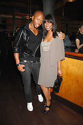 BEVERLEY KNIGHT and BRYAN CHAMBERS at a party to celebrate the launch of Cavalli Selection - the first ever wine from Casa Cavalli, held at 17 Berkeley Street, London W1 on 29th May 2008.<br /><br />NON EXCLUSIVE - WORLD RIGHTS
