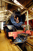 Alice Springs, a steam engine being cleaned at the maintenance yard of the Ghan Preservation Society.