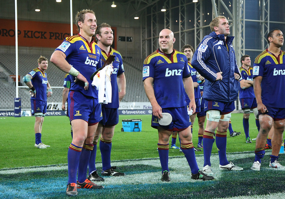 Highlander's Jimmy Cowan watches a tribute for his 100th match for the Highlanders on the big screen after the match against the Stormers in the Super 15 rugby match at Forsyth Barr Stadium, Dunedin, New Zealand, Saturday, April 07, 2012. Credit:SNPA / Dianne Manson