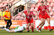 11th November 2018 , Racecourse Ground,  Wrexham, Wales ;  Rugby League World Cup Qualifier,Wales v Ireland ; Steve Parry of Wales is tackled by Declan O'Donnell of Ireland <br /> <br /> Credit:   Craig Thomas/Replay Images