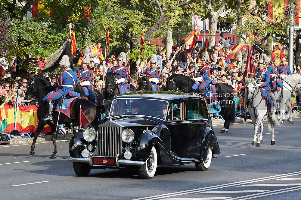 King Felipe VI of Spain, Queen Letizia of Spain attended the National Day military parade on October 12, 2017 in Madrid, Spain.