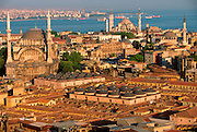 TURKEY, ISTANBUL, SKYLINE view across Old Istanbul with the Blue Mosque in background and the Nuruosmaniye Mosque on the left