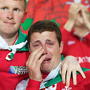 WELSH LEEK... A welsh fan in tears at the end of the game after his teams loss during the Wales V France Semi Final match at the IRB Rugby World Cup tournament, Eden Park, Auckland, New Zealand, 15th October 2011. Photo Tim Clayton...