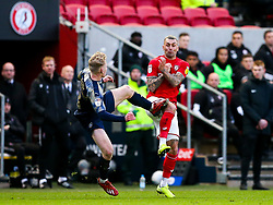 Jack Hunt of Bristol City is fouled by Ben Williams of Barnsley - Rogan/JMP - 18/01/2020 - Ashton Gate Stadium - Bristol, England - Bristol City v Barnsley - Sky Bet Championship.