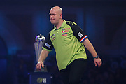 Michael Van Gerwen (Netherlands) reacts during his match with Peter Wright (Scotland)  (not in picture) in the final of the PDC William Hill World Darts Championship at Alexandra Palace, London, United Kingdom on 1 January 2020.