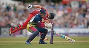 Kent vs Lancashire T20 1/4 final, 15th August 2015.<br />Kent&rsquo;s Sam Billings fails to run out Liam Livingstone