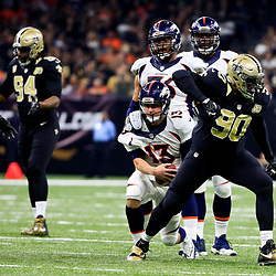 Nov 13, 2016; New Orleans, LA, USA;  New Orleans Saints defensive tackle Nick Fairley (90) celebrates after sacking Denver Broncos quarterback Trevor Siemian (13) during the first quarter of a game at the Mercedes-Benz Superdome. Mandatory Credit: Derick E. Hingle-USA TODAY Sports