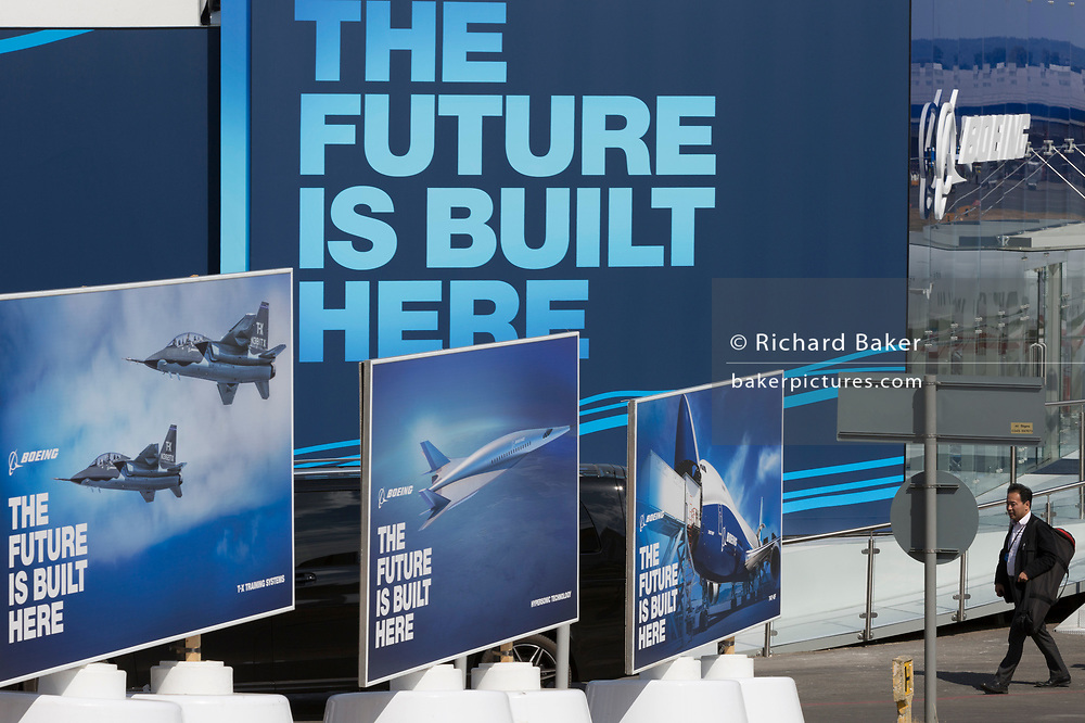 The Boeing hospitality chalet at the Farnborough Airshow, on 16th July 2018, in Farnborough, England.