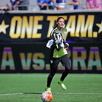 ORLANDO, FL - OCTOBER 25: Hope Solo #1 of USWNT runs off the field after warmups during a women's international friendly soccer match between Brazil and the United States at the Orlando Citrus Bowl on October 25, 2015 in Orlando, Florida. (Photo by Alex Menendez/Getty Images) *** Local Caption *** Hope Solo