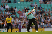 Aaron Finch of Surrey finds the boundary with a four during the NatWest T20 Blast South Group match between Surrey County Cricket Club and Warwickshire County Cricket Club at the Kia Oval, Kennington, United Kingdom on 25 August 2017. Photo by Dave Vokes.