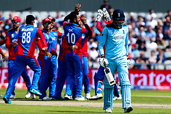 James Vince of England cuts a dejected figure after being dismissed by Dawlat Zadran of Afghanistan - Mandatory by-line: Robbie Stephenson/JMP - 18/06/2019 - CRICKET- Old Trafford - Manchester, England - England v Afghanistan - ICC Cricket World Cup 2019 group stage