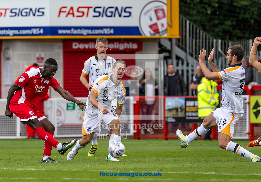 Enzio Boldewijn of Crawley Town shoots and scores during the Sky Bet League 2 match at  Checkatrade.com Stadium, Crawley<br /> Picture by Liam McAvoy/Focus Images Ltd 07413 543156<br /> 05/08/2017