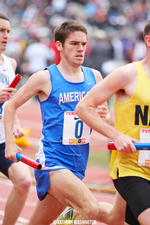 Craig Brown of American University during the College Men's 4xMile Championship of America at the Penn Relays athletic meet on Saturday, April 30, 2011 in Philadelphia, PA.